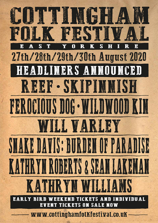 Sat 30th August 2020, Cottingham Folk Festival
